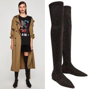 NWT ZARA Multicolor Glitter Over Knee Black Boots